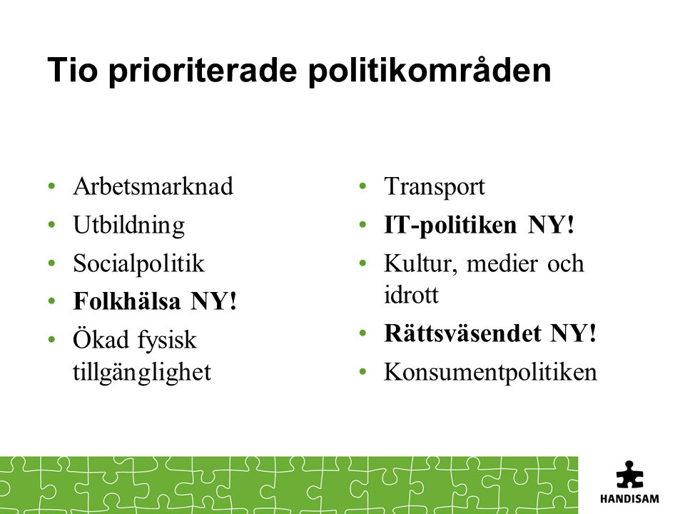 Tio prioriterade politikområden