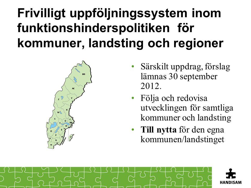 Frivilligt uppföljningssystem inom funktionshinderspolitiken för kommuner, landsting och regioner