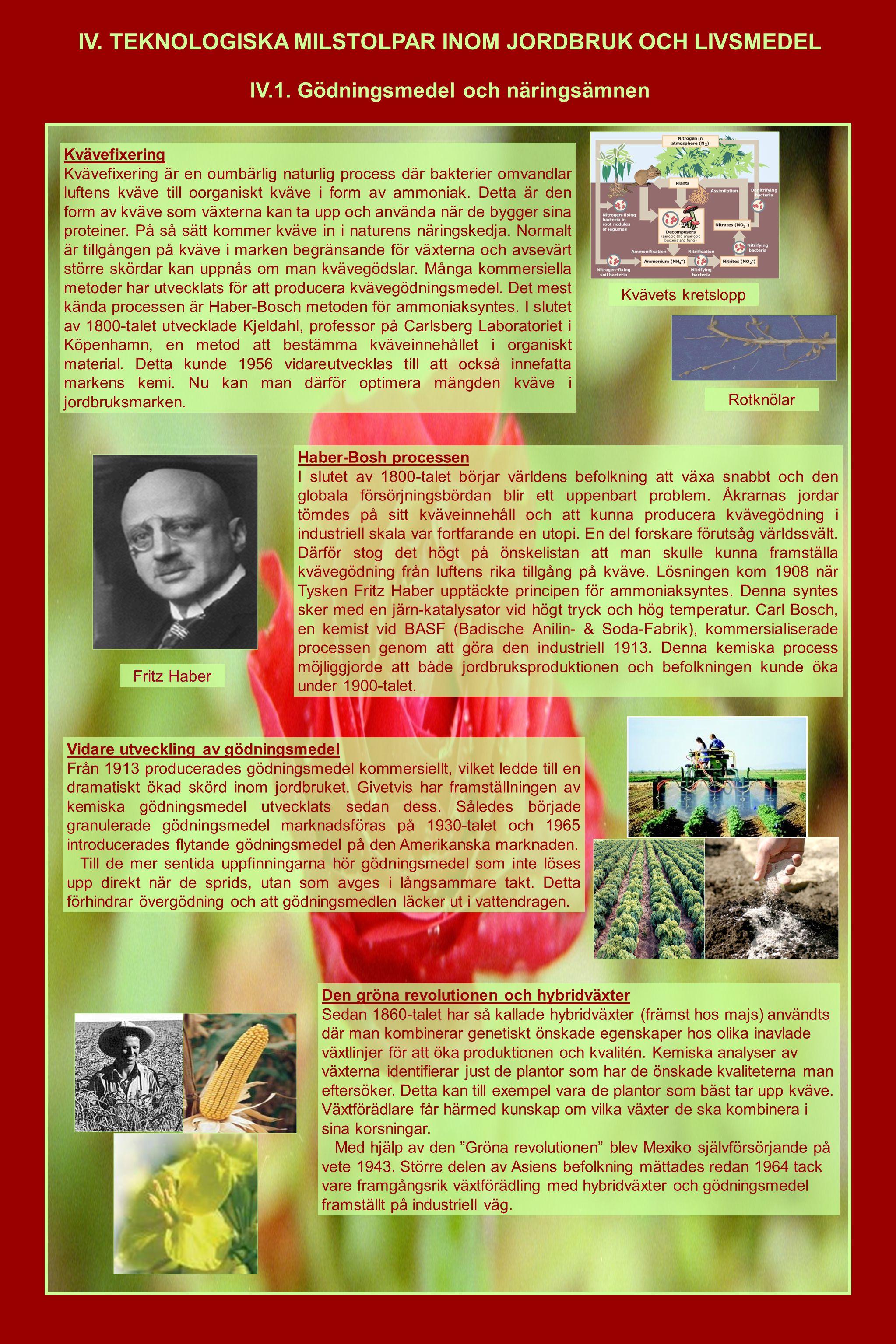 IV. TEKNOLOGISKA MILSTOLPAR INOM JORDBRUK OCH LIVSMEDEL