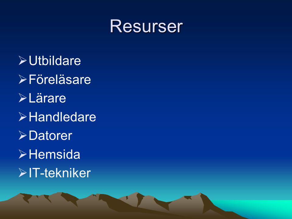 Resurser Utbildare Föreläsare Lärare Handledare Datorer Hemsida