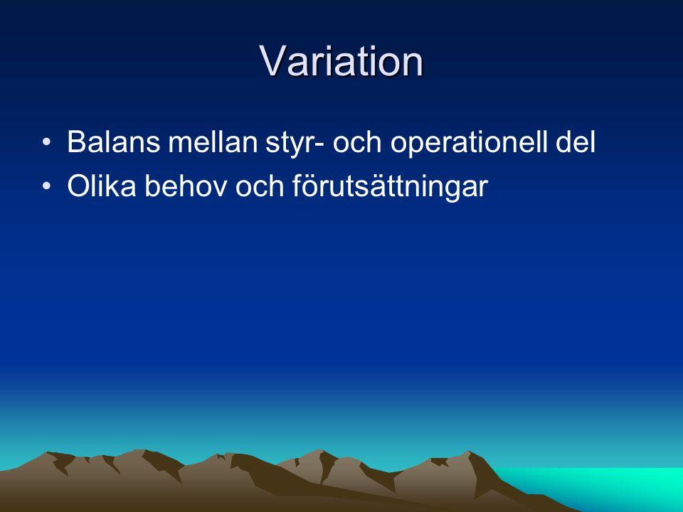 Variation Balans mellan styr- och operationell del