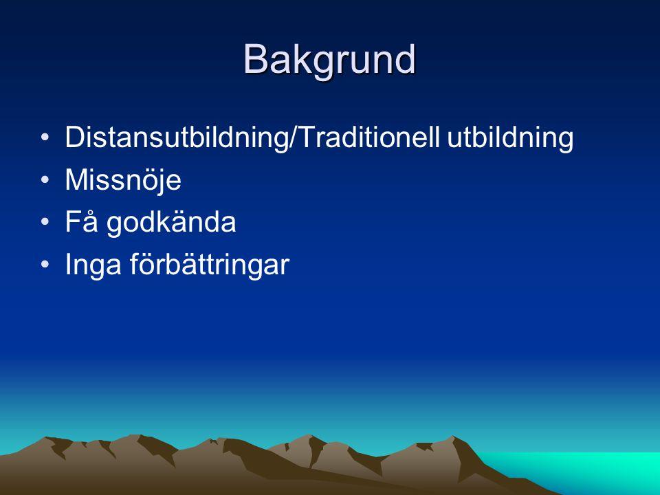 Bakgrund Distansutbildning/Traditionell utbildning Missnöje
