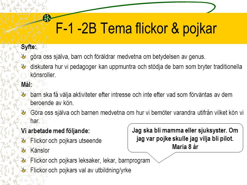 F-1 -2B Tema flickor & pojkar