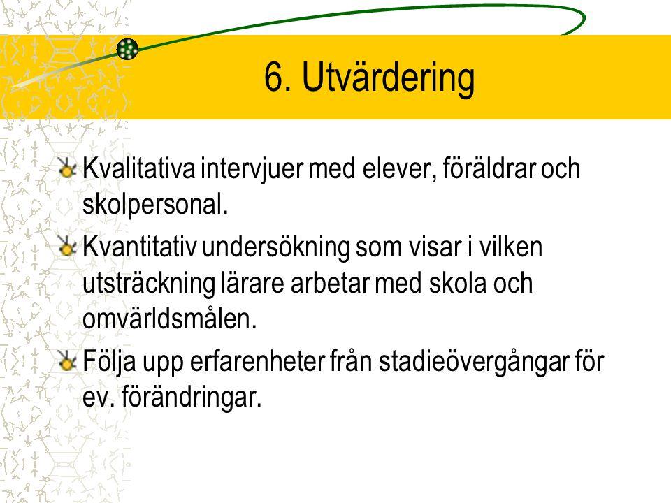6. Utvärdering Kvalitativa intervjuer med elever, föräldrar och skolpersonal.