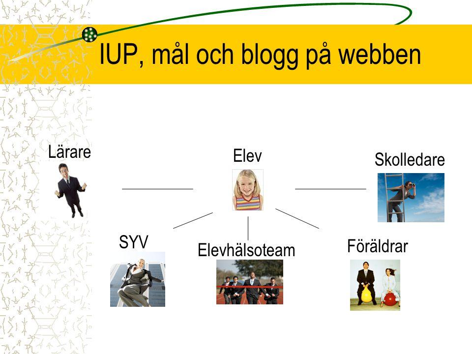 IUP, mål och blogg på webben