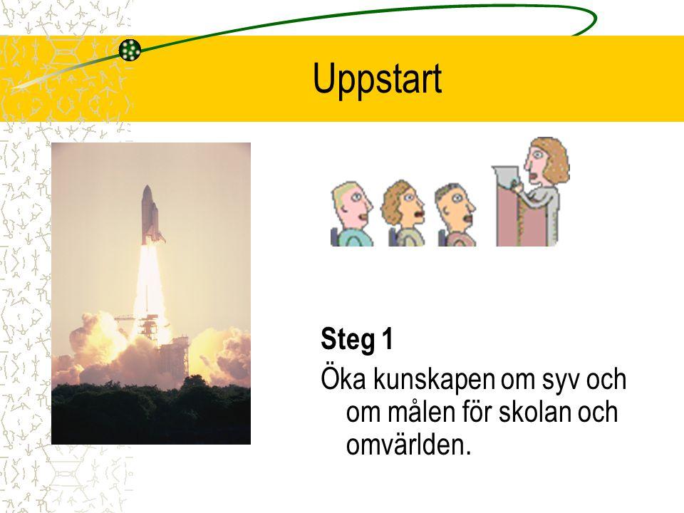 Uppstart Steg 1 Öka kunskapen om syv och om målen för skolan och omvärlden.