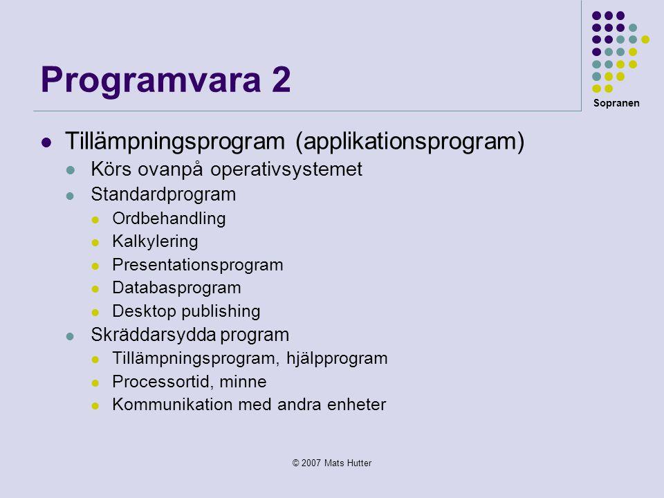 Programvara 2 Tillämpningsprogram (applikationsprogram)