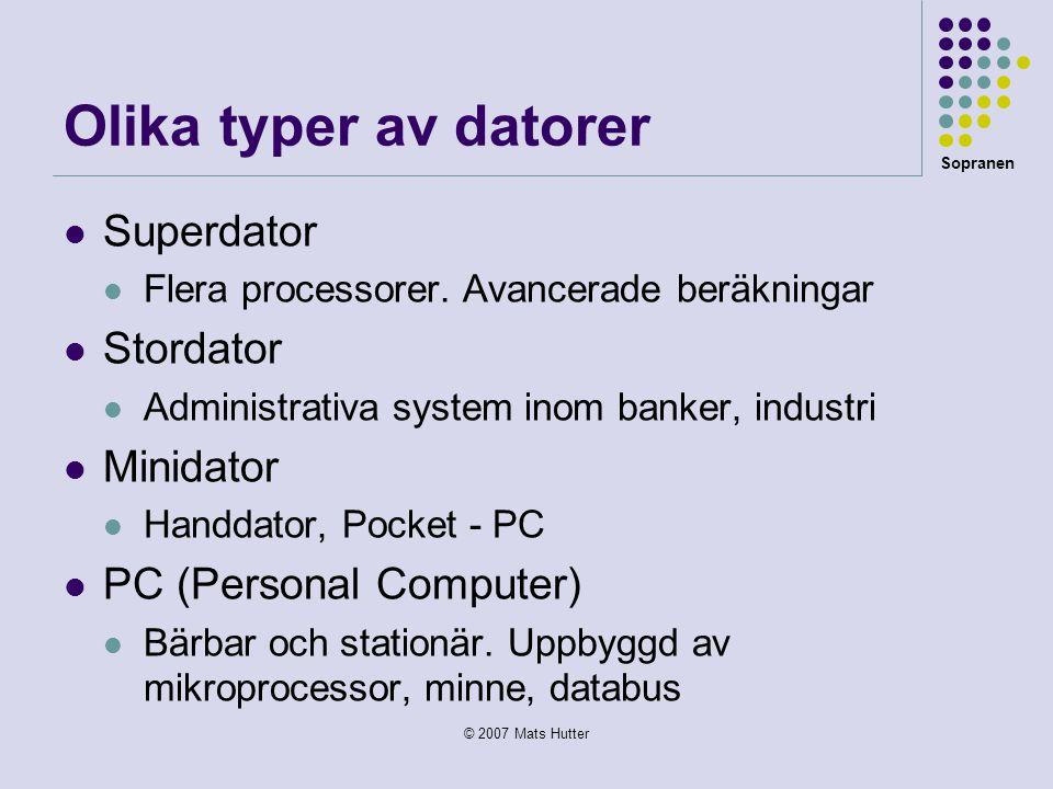 Olika typer av datorer Superdator Stordator Minidator