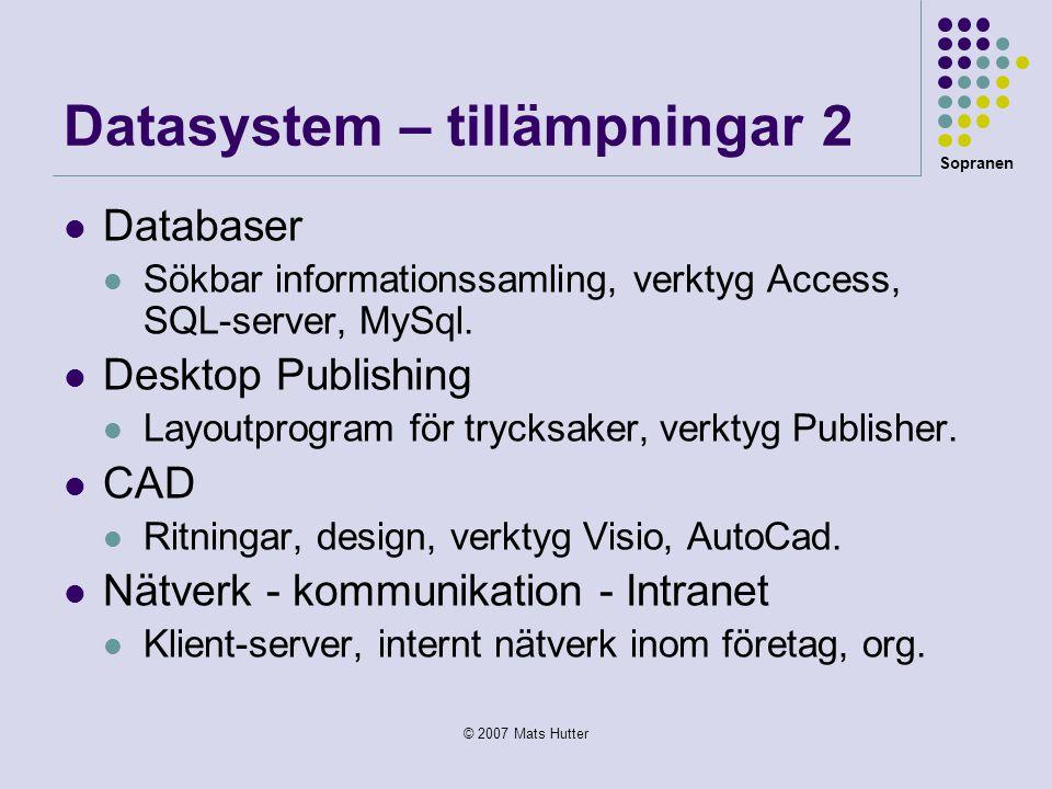 Datasystem – tillämpningar 2