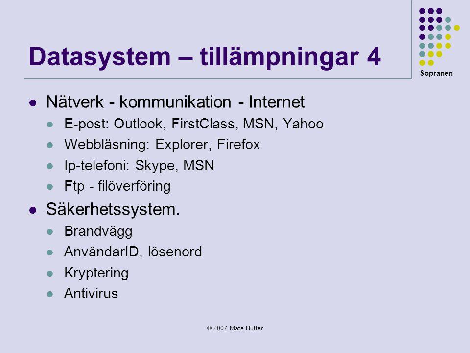 Datasystem – tillämpningar 4
