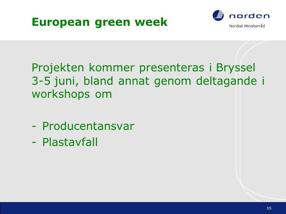 European green week Projekten kommer presenteras i Bryssel 3-5 juni, bland annat genom deltagande i workshops om.