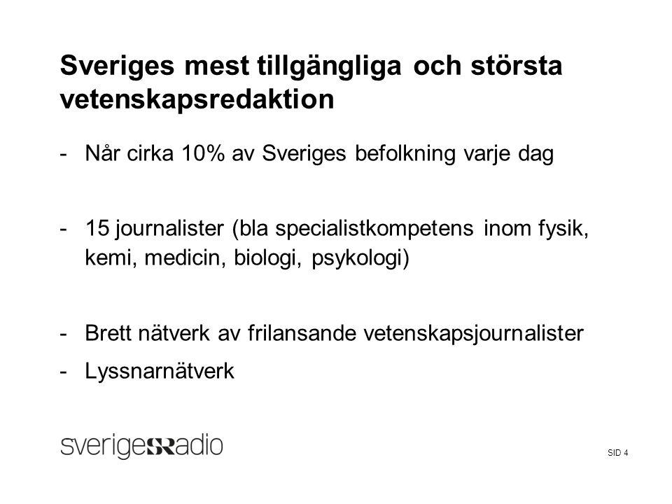 Sveriges mest tillgängliga och största vetenskapsredaktion