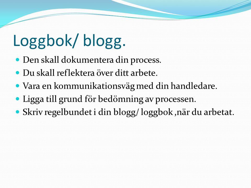 Loggbok/ blogg. Den skall dokumentera din process.