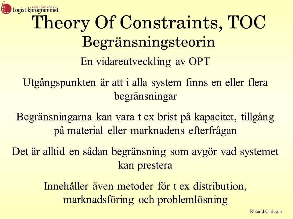 Theory Of Constraints, TOC Begränsningsteorin
