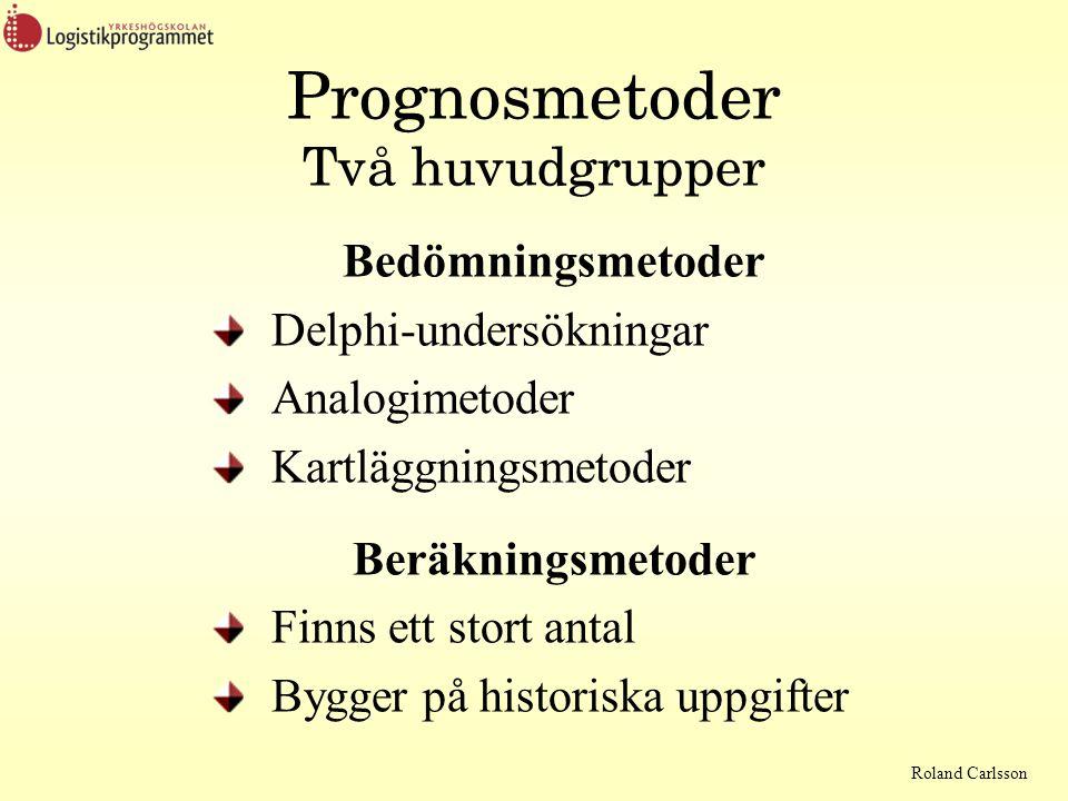 Prognosmetoder Två huvudgrupper