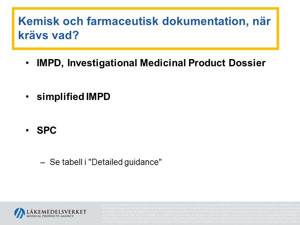 Kemisk och farmaceutisk dokumentation, när krävs vad