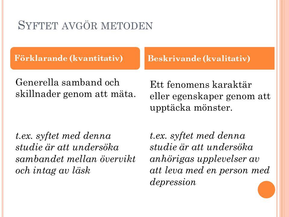 Syftet avgör metoden Förklarande (kvantitativ) Beskrivande (kvalitativ)