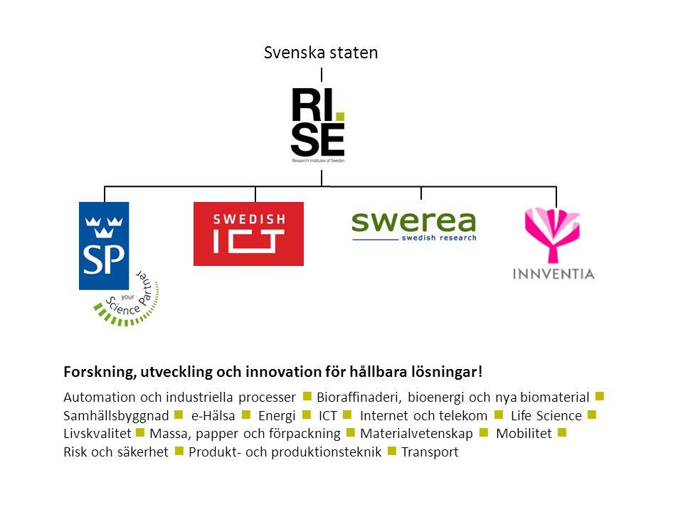 Svenska staten Forskning, utveckling och innovation för hållbara lösningar!