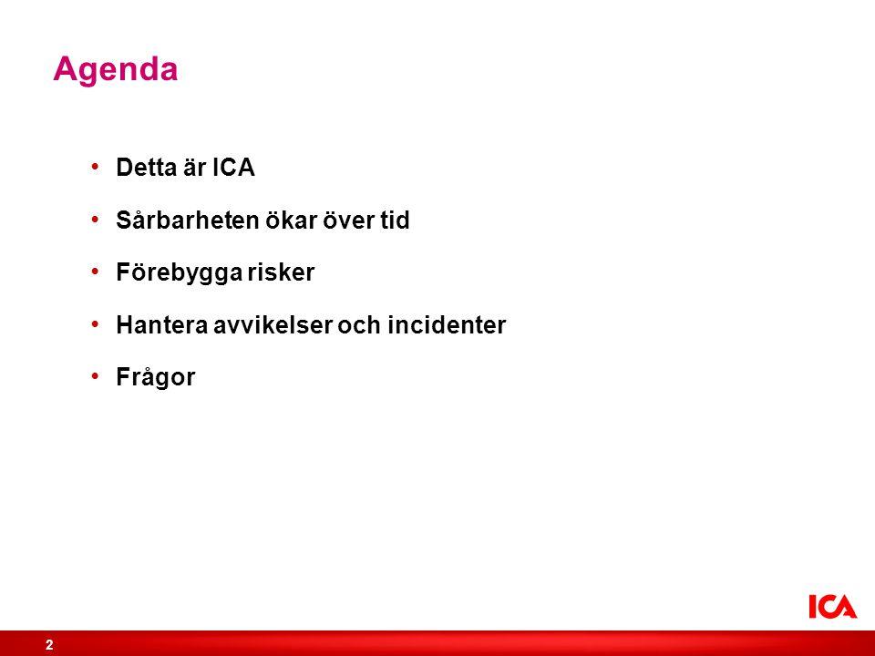 Agenda Detta är ICA Sårbarheten ökar över tid Förebygga risker