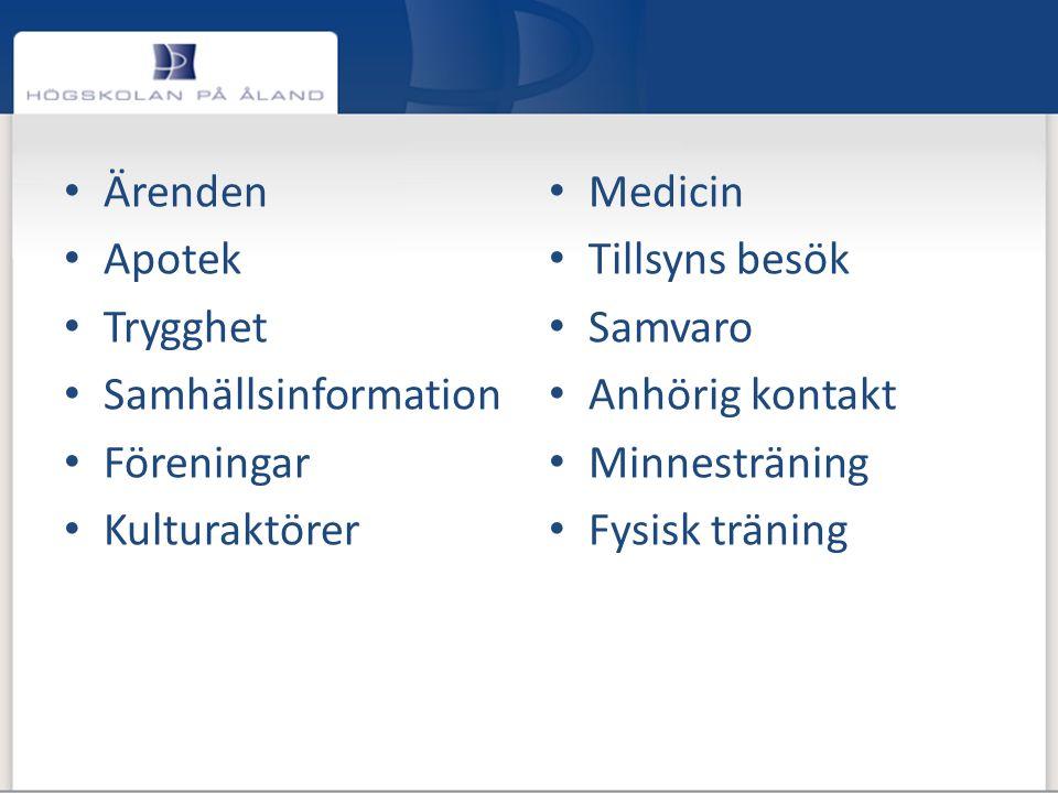 Ärenden Apotek. Trygghet. Samhällsinformation. Föreningar. Kulturaktörer. Medicin. Tillsyns besök.