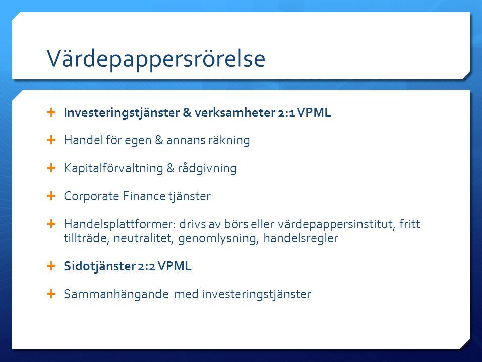 Värdepappersrörelse Investeringstjänster & verksamheter 2:1 VPML