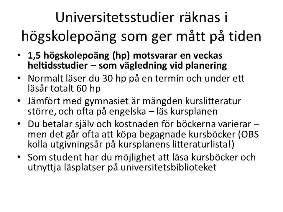 Universitetsstudier räknas i högskolepoäng som ger mått på tiden