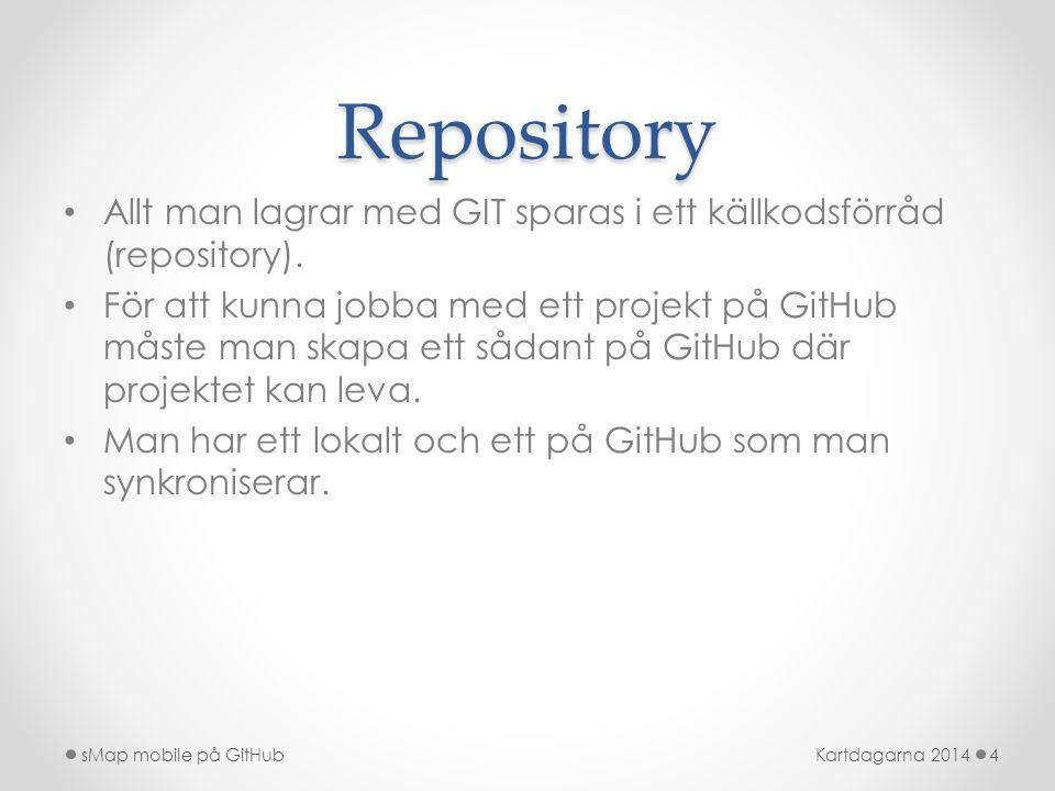 Repository Allt man lagrar med GIT sparas i ett källkodsförråd (repository).