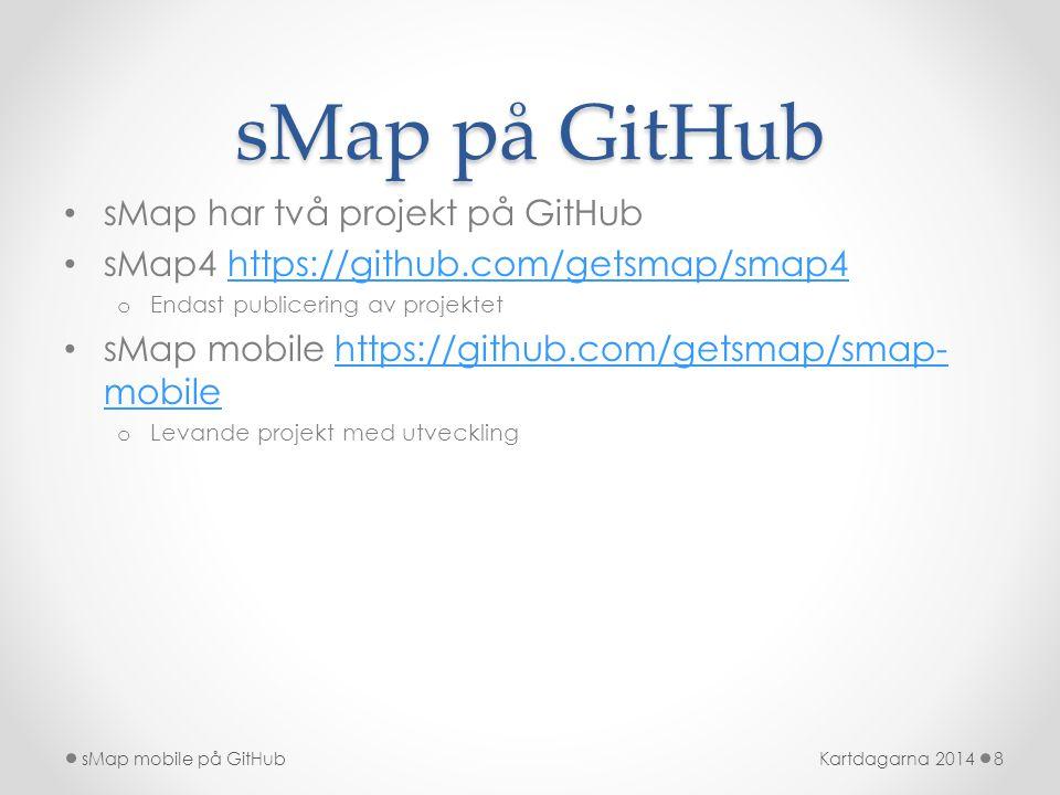 sMap på GitHub sMap har två projekt på GitHub