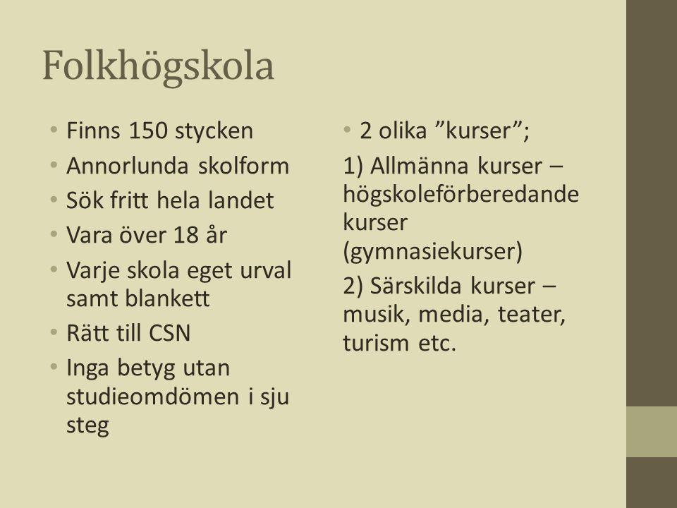 Folkhögskola Finns 150 stycken Annorlunda skolform