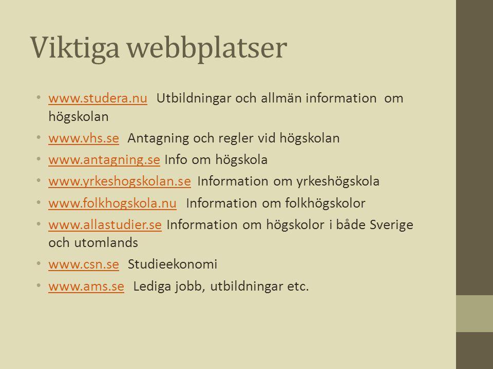 Viktiga webbplatser www.studera.nu Utbildningar och allmän information om högskolan. www.vhs.se Antagning och regler vid högskolan.