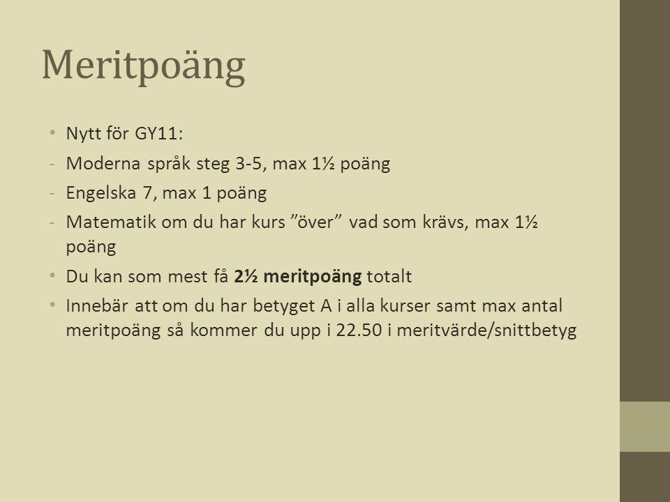Meritpoäng Nytt för GY11: Moderna språk steg 3-5, max 1½ poäng