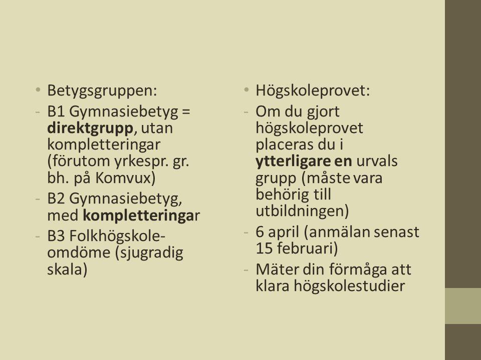 Betygsgruppen: B1 Gymnasiebetyg = direktgrupp, utan kompletteringar (förutom yrkespr. gr. bh. på Komvux)