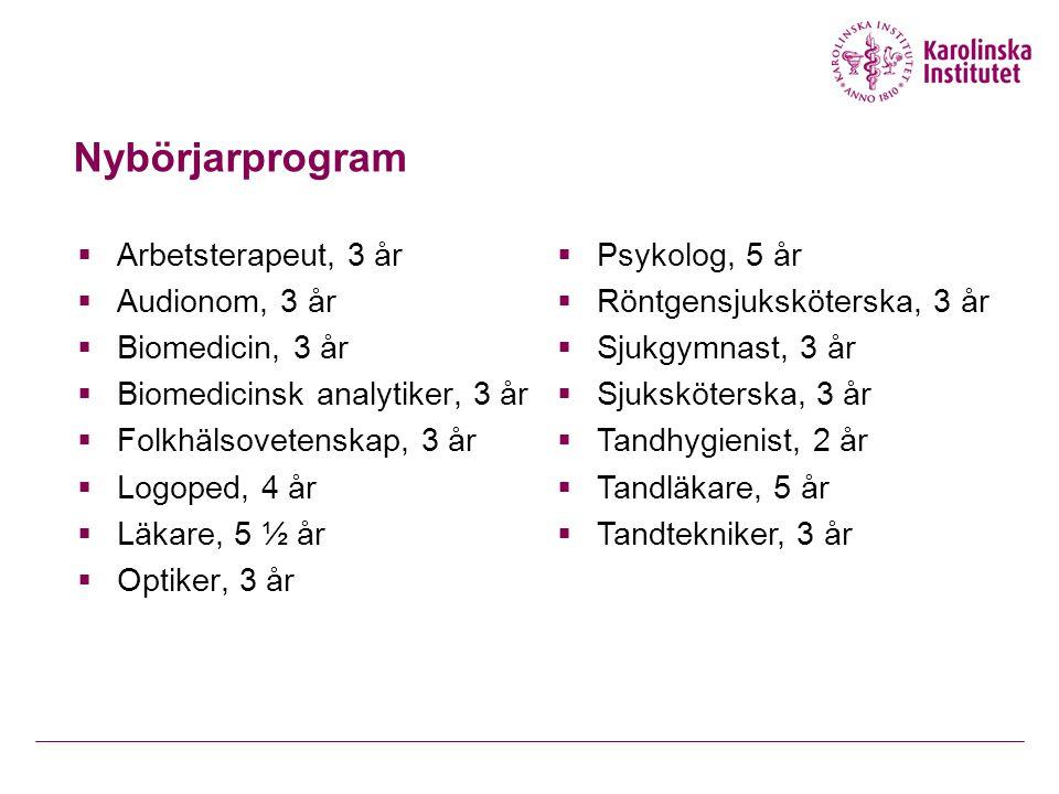 Nybörjarprogram Arbetsterapeut, 3 år Psykolog, 5 år Audionom, 3 år