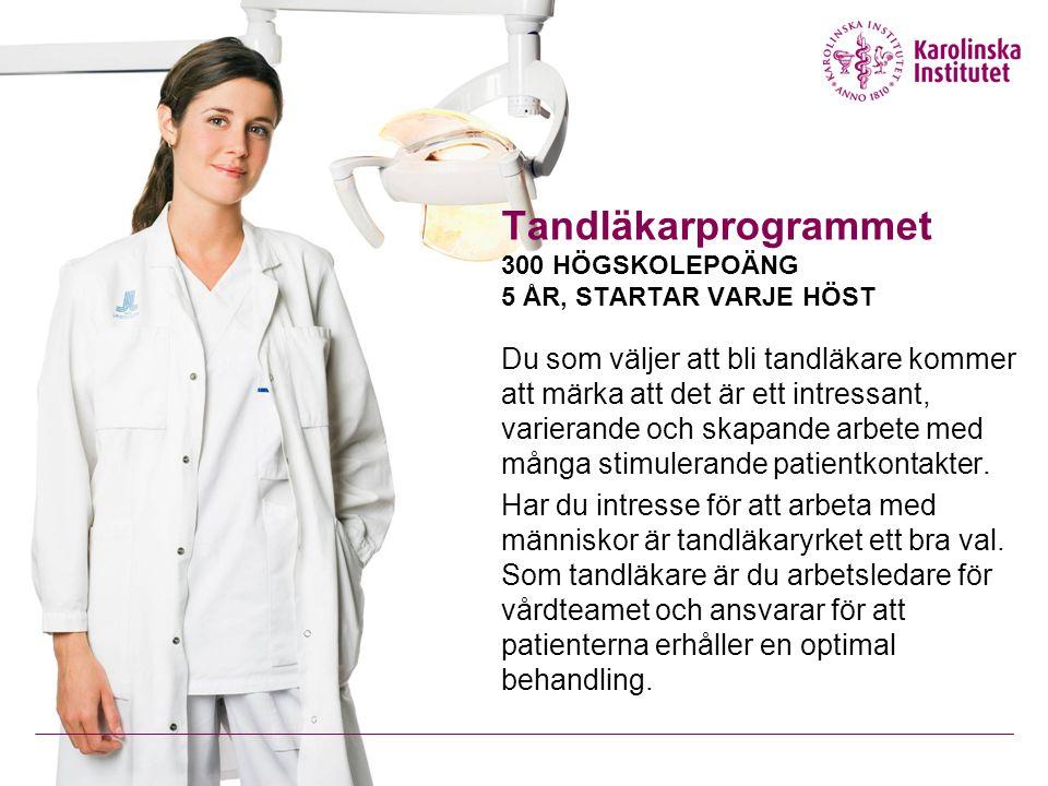 Tandläkarprogrammet 300 HÖGSKOLEPOÄNG 5 ÅR, STARTAR VARJE HÖST