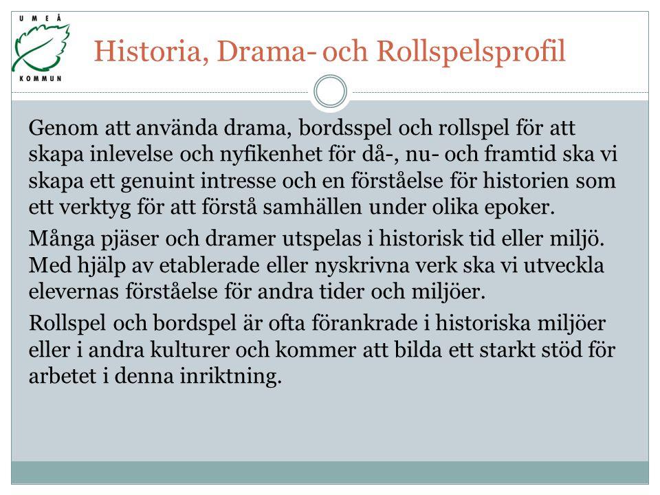 Historia, Drama- och Rollspelsprofil
