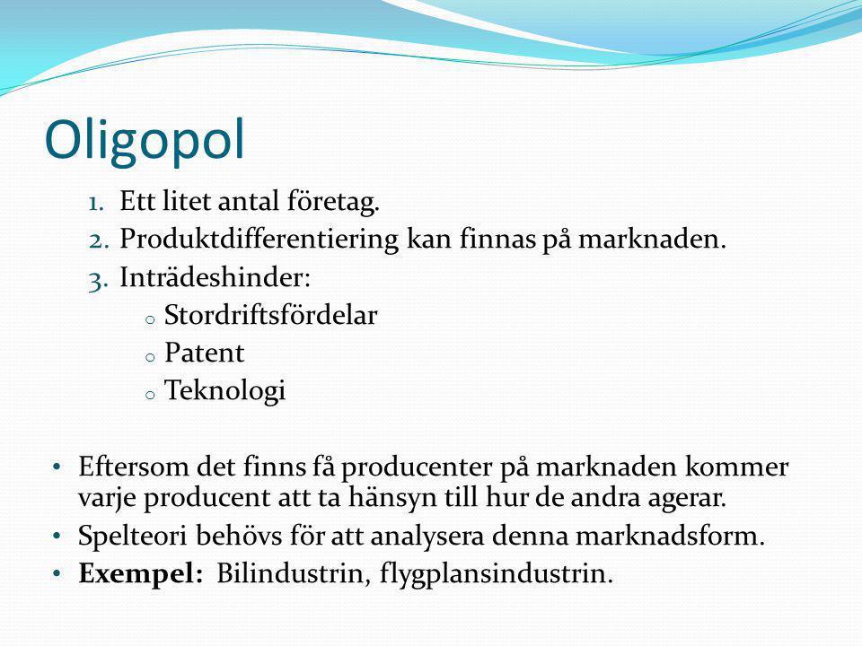 Oligopol Ett litet antal företag.