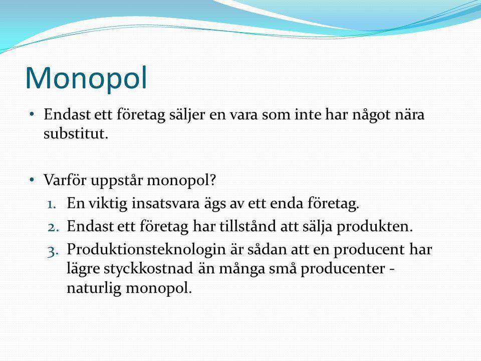 Monopol Endast ett företag säljer en vara som inte har något nära substitut. Varför uppstår monopol