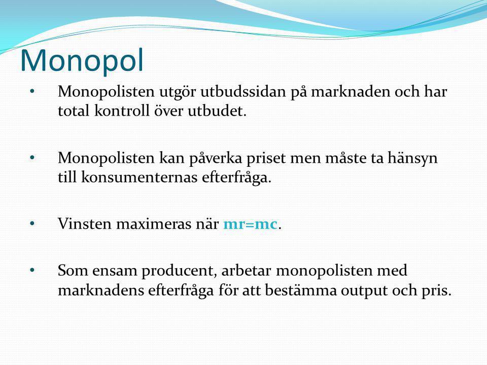 Monopol Monopolisten utgör utbudssidan på marknaden och har total kontroll över utbudet.