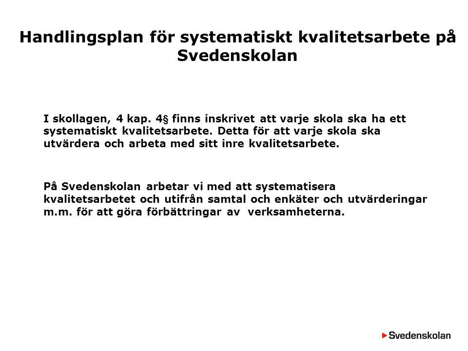 Handlingsplan för systematiskt kvalitetsarbete på Svedenskolan