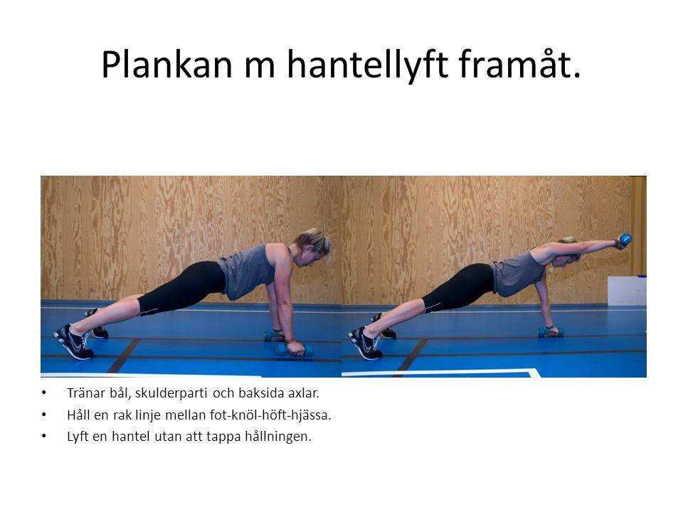 Plankan m hantellyft framåt.