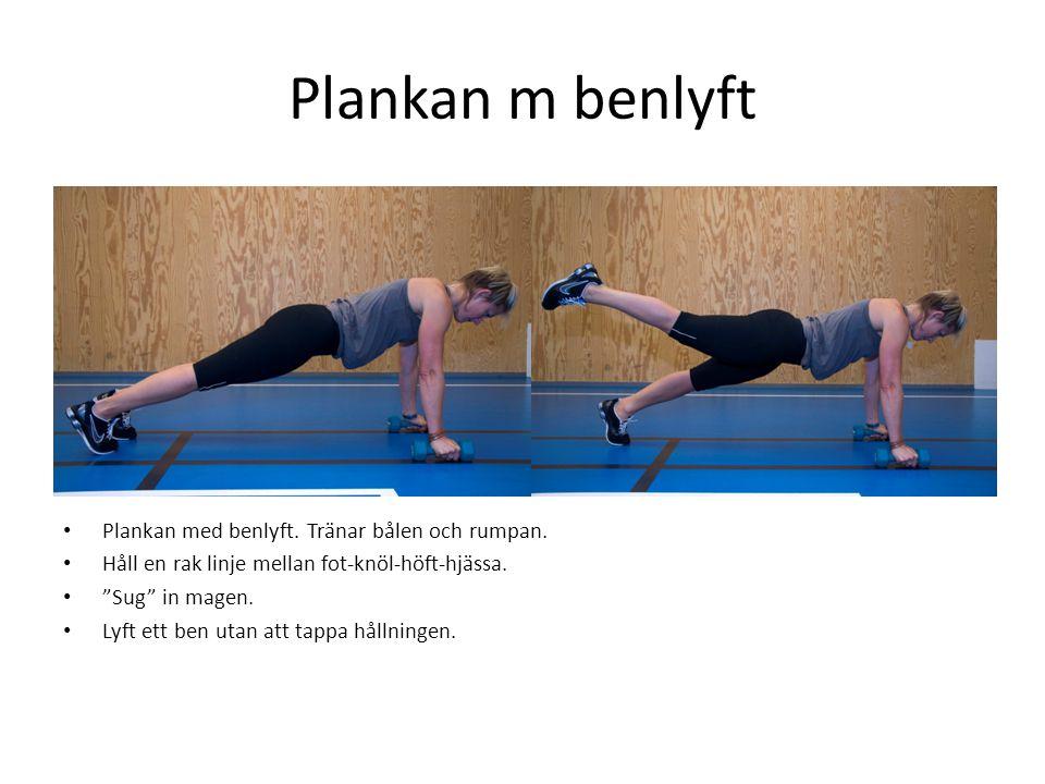 Plankan m benlyft Plankan med benlyft. Tränar bålen och rumpan.