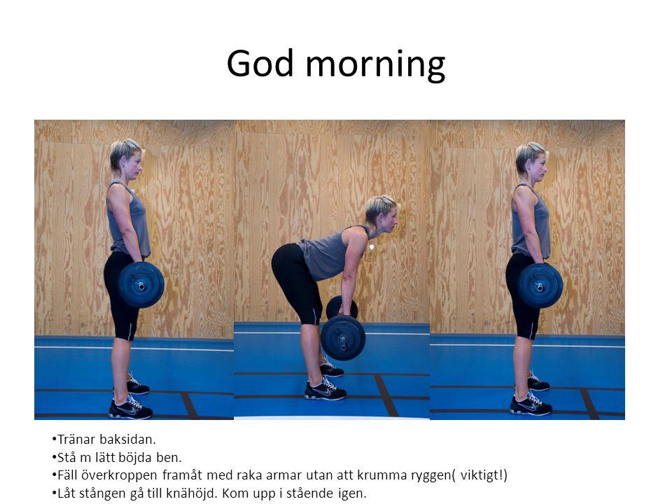 God morning Tränar baksidan. Stå m lätt böjda ben.