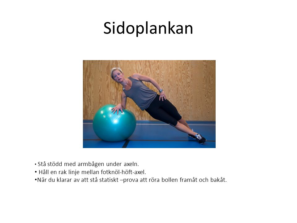 Sidoplankan Håll en rak linje mellan fotknöl-höft-axel.