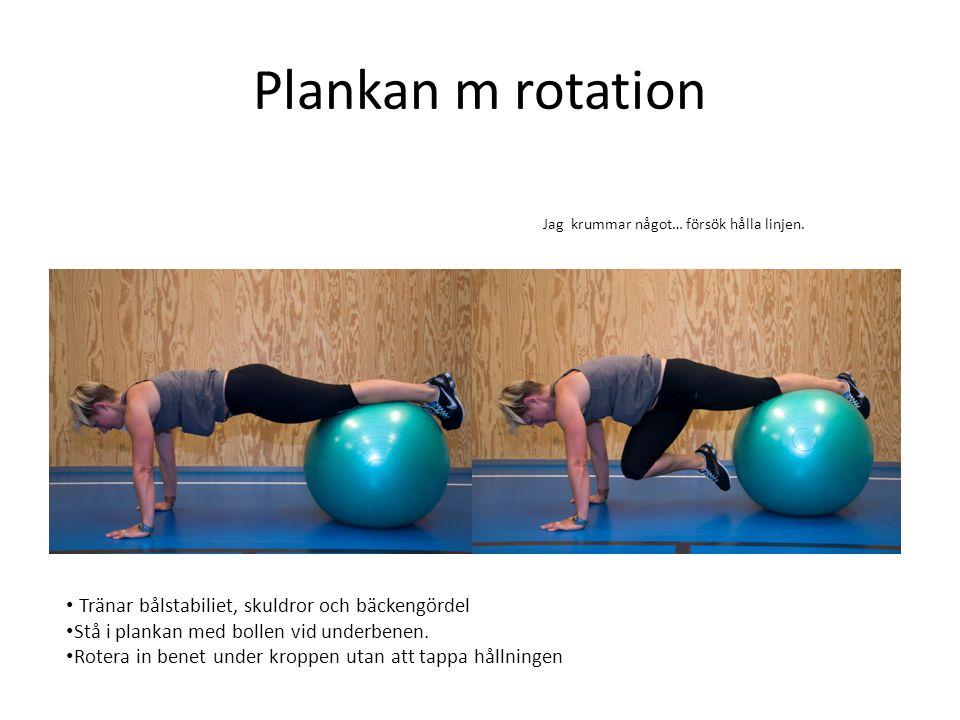 Plankan m rotation Tränar bålstabiliet, skuldror och bäckengördel