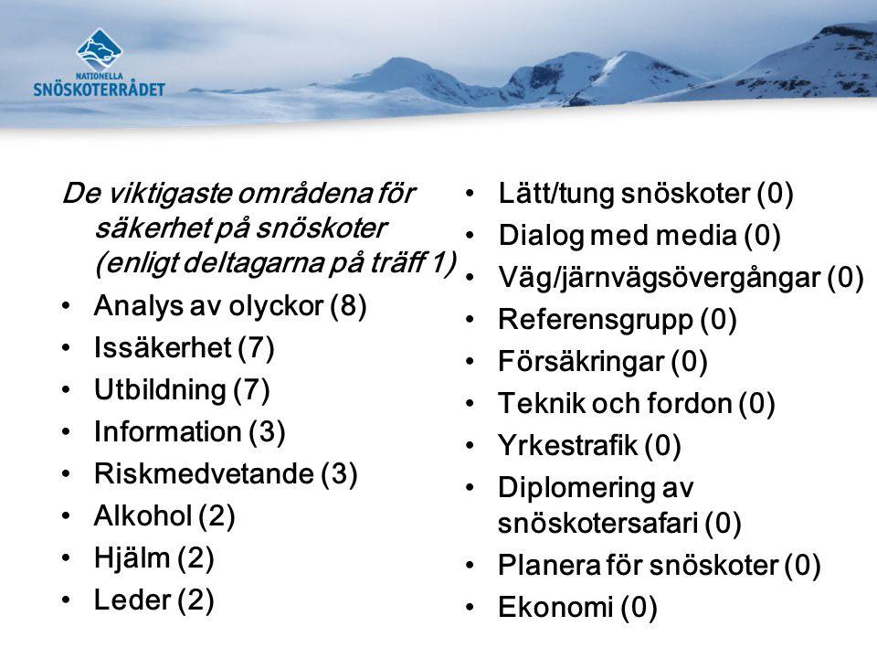De viktigaste områdena för säkerhet på snöskoter (enligt deltagarna på träff 1)