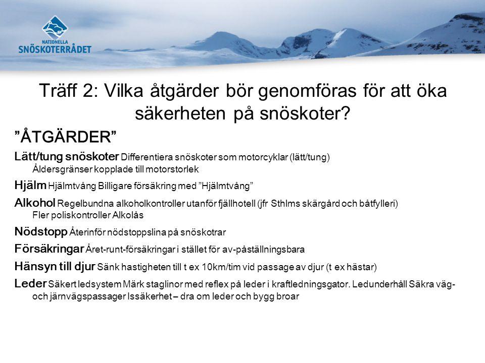 Träff 2: Vilka åtgärder bör genomföras för att öka säkerheten på snöskoter