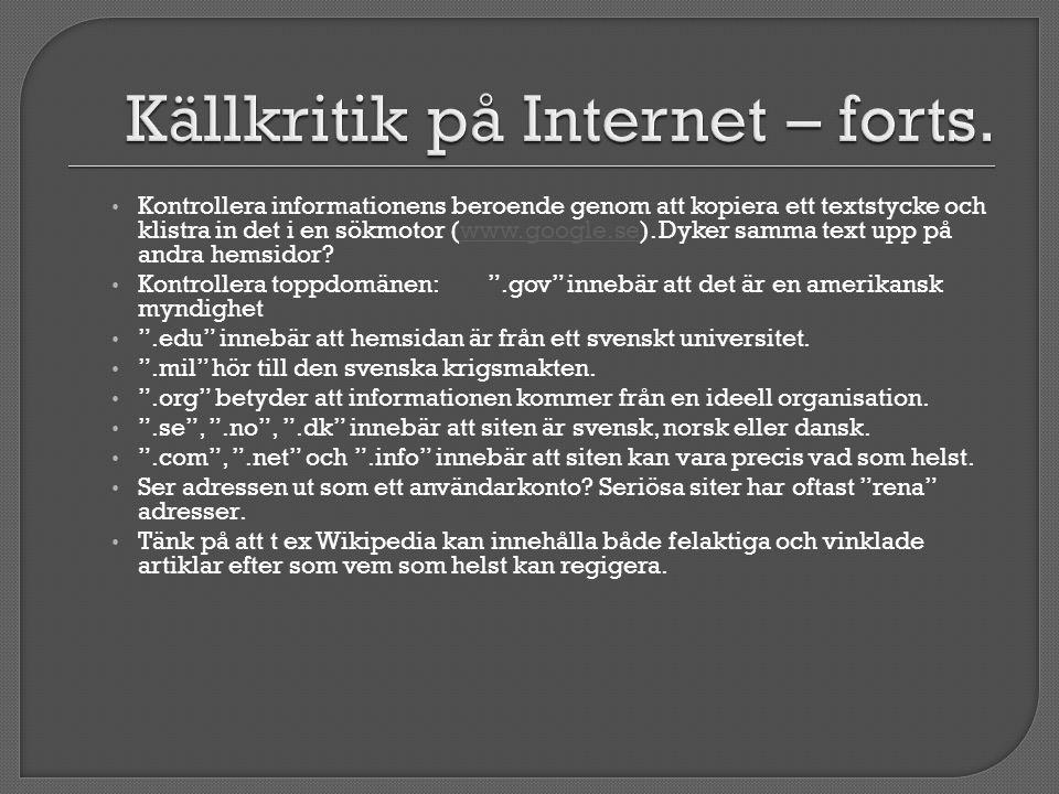 Källkritik på Internet – forts.