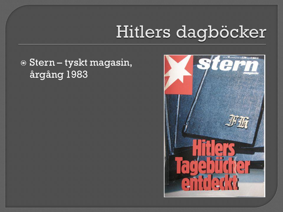 Hitlers dagböcker Stern – tyskt magasin, årgång 1983