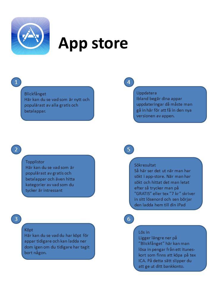 App store 1. 4. Blickfånget Här kan du se vad som är nytt och populärast av alla gratis och betalappar.