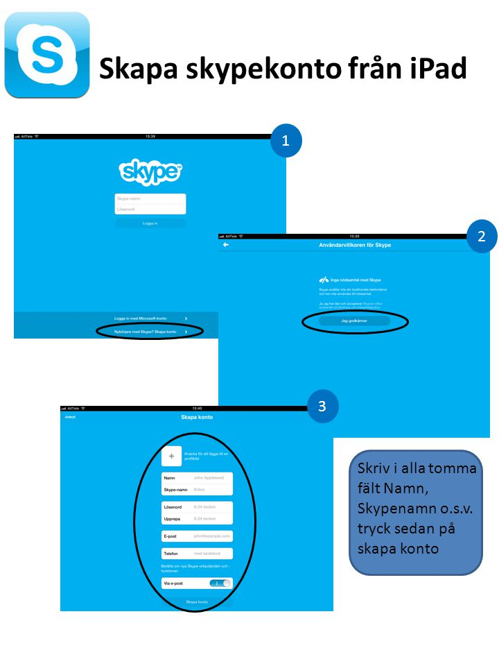 Skapa skypekonto från iPad